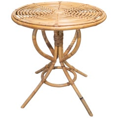 1980s Spanish Bamboo Round Side Table