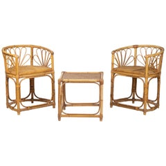 1980s Spanish Bamboo Set Consisting of a Table and Two Armchairs
