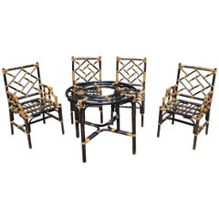 1980s Spanish Bamboo Set of Two Chairs, Two Armchairs and a Table