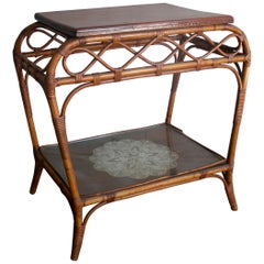 1980s Spanish Bamboo Side Table