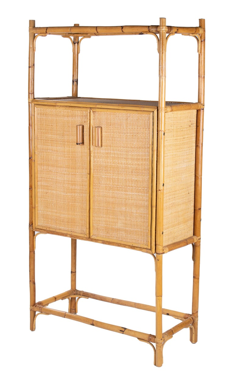 20th Century 1980s Spanish Bamboo Two-Door Shelved Bookcase For Sale