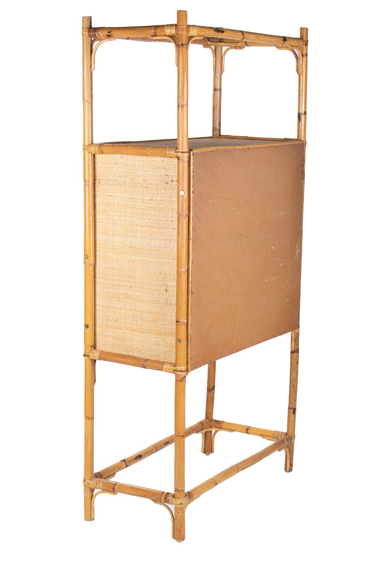 1980s Spanish Bamboo Two-Door Shelved Bookcase For Sale 1