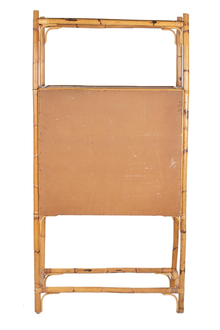 1980s Spanish Bamboo Two-Door Shelved Bookcase For Sale 2