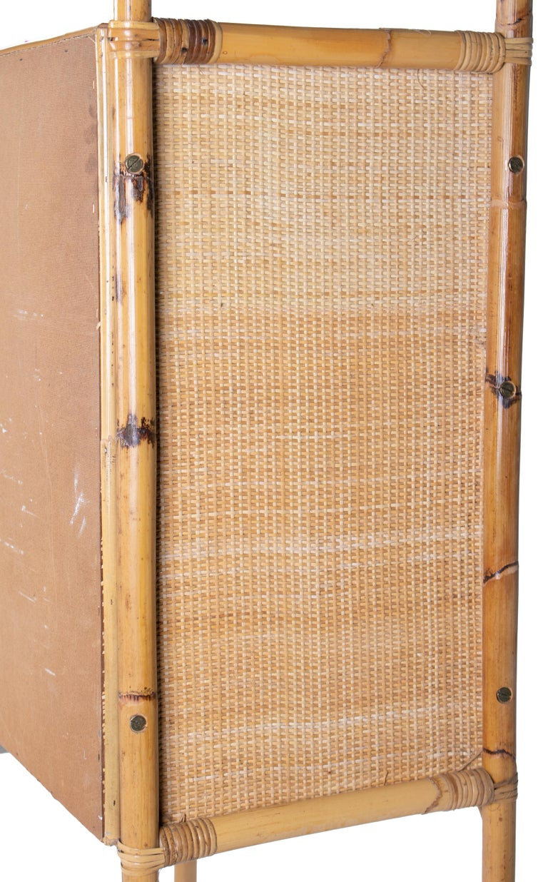 1980s Spanish Bamboo Two-Door Shelved Bookcase For Sale 3