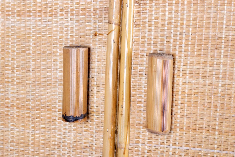 1980s Spanish Bamboo Two-Door Shelved Bookcase For Sale 4