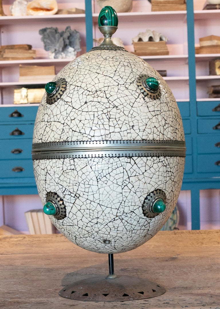 1980s Spanish Bronze and Malachite Giant Ostrich Egg In Good Condition For Sale In Malaga, ES