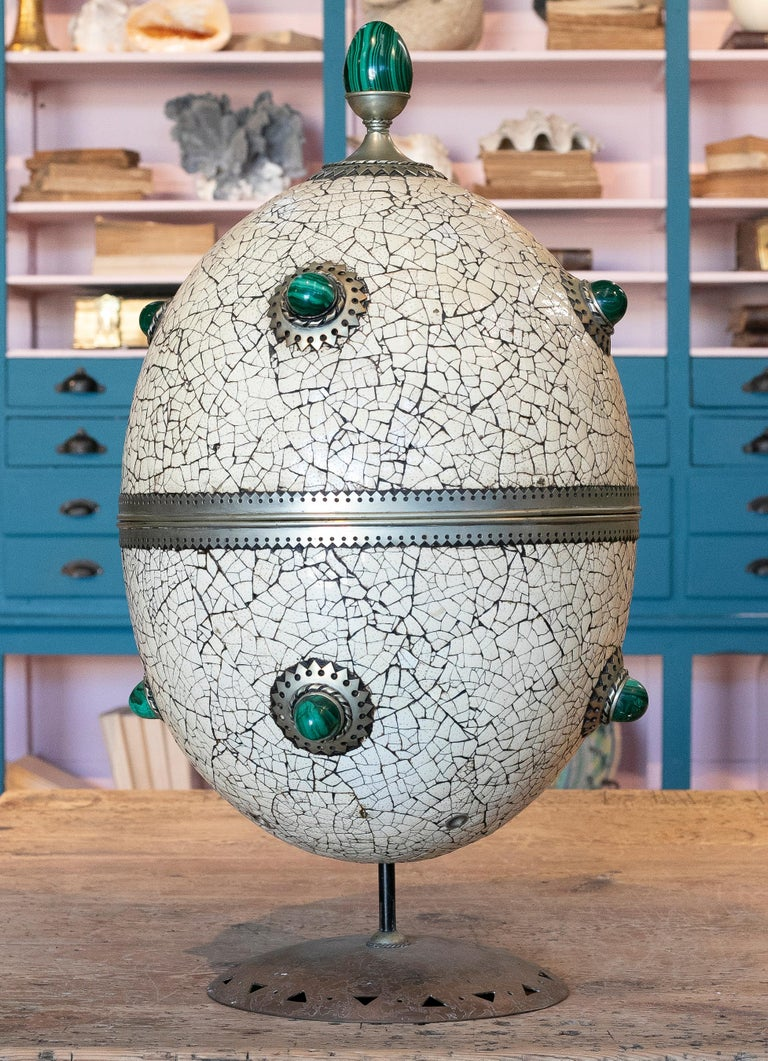 20th Century 1980s Spanish Bronze and Malachite Giant Ostrich Egg For Sale