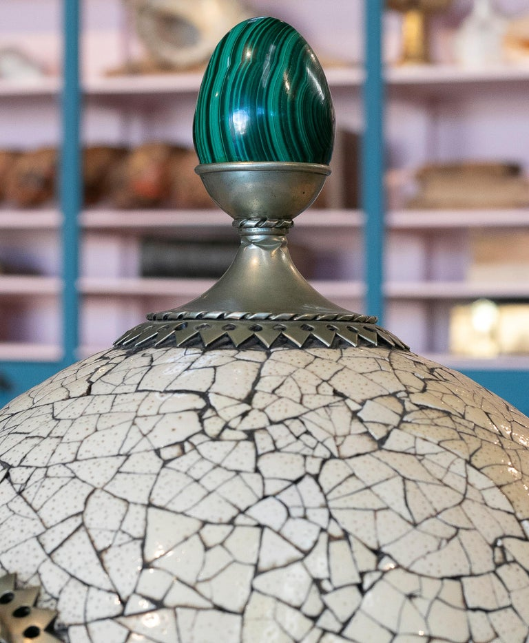 1980s Spanish Bronze and Malachite Giant Ostrich Egg For Sale 3
