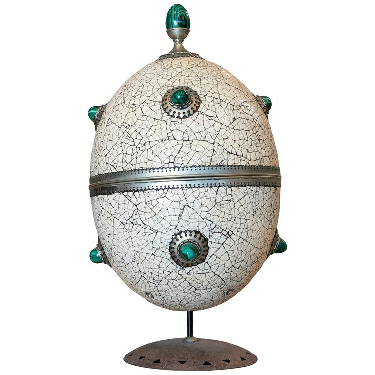 1980s Spanish Bronze and Malachite Giant Ostrich Egg For Sale