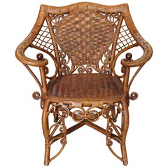 1980s Spanish Canework and Wood Armchair with Volutes Decoration