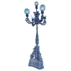 1980s Spanish Cast Iron Four-Arm Street Lamp