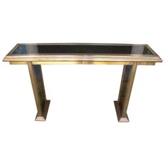 1980s Spanish Console Made of Bonze with Smoked Glass