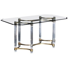 1980s Spanish Gilded Brass and Methacrylate Dining Table