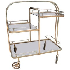 1980s Spanish Gilded Brass Drinks Trolley with Original Rubber Wheels