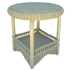 1980s Spanish Green Wicker Side Table
