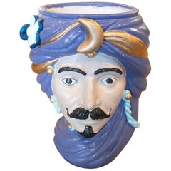 1980s Spanish Hand Painted Ceramic Vase Representing an Arab Figure