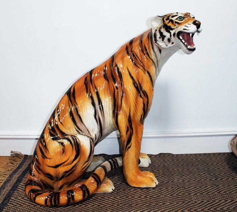 1980s Spanish hand painted glazed ceramic tiger sculpture.