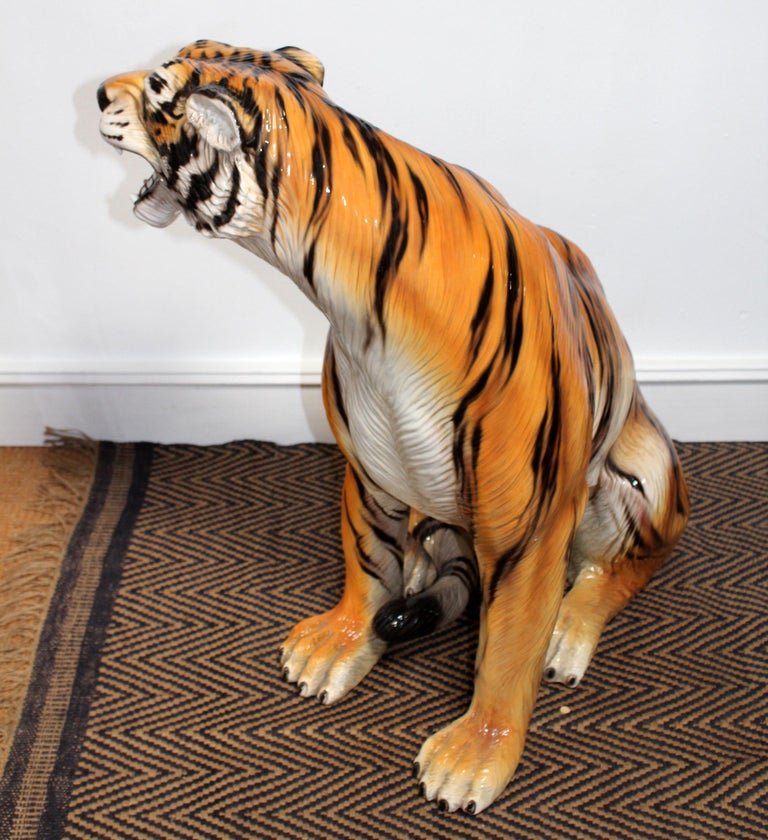 20th Century 1980s Spanish Hand Painted Glazed Ceramic Tiger Sculpture For Sale