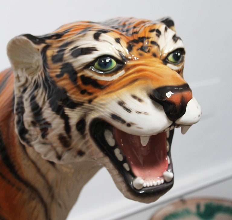 1980s Spanish Hand Painted Glazed Ceramic Tiger Sculpture For Sale 5