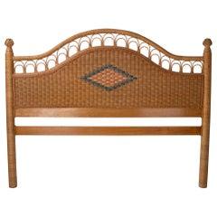 1980s Spanish Hand Woven Wicker Double Bed Headboard