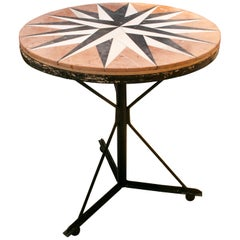 1980s Spanish Iron Pedestal Table with Mosaic Marble Top