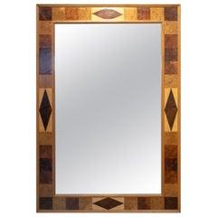 1980s Spanish Mahogany Root Wood Satinwood and Walnut Hardwood Mirror