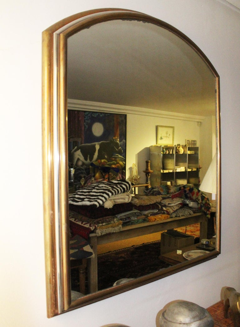 1980s Spanish Metal Mirror With Two Tone Brass Frame For