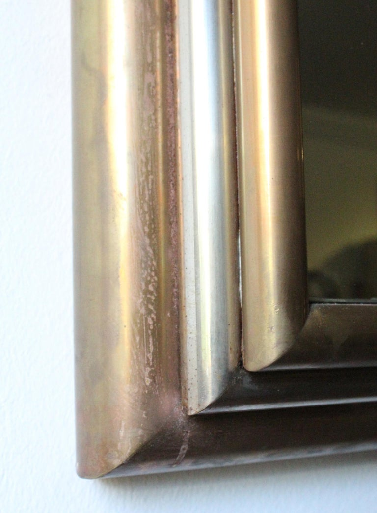 20th Century 1980s Spanish Metal Mirror with Two-Tone Brass Frame For Sale