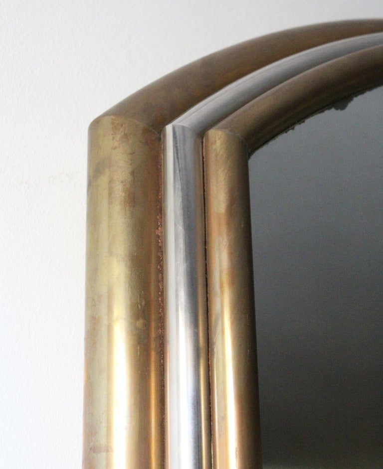 1980s Spanish Metal Mirror with Two-Tone Brass Frame For Sale 1