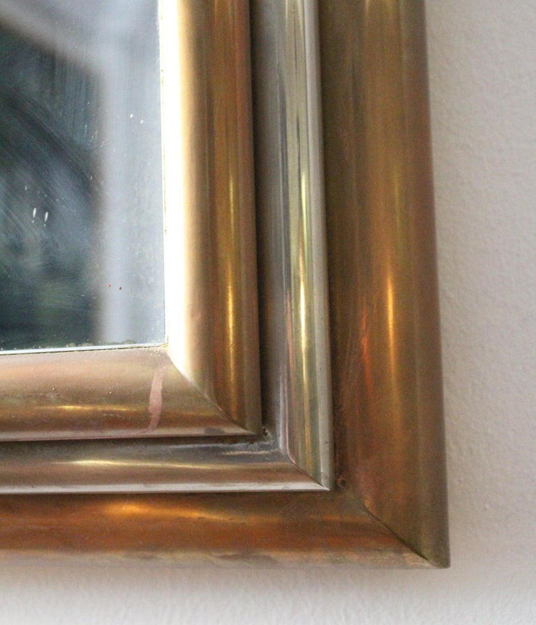1980s Spanish Metal Mirror with Two-Tone Brass Frame For Sale 2