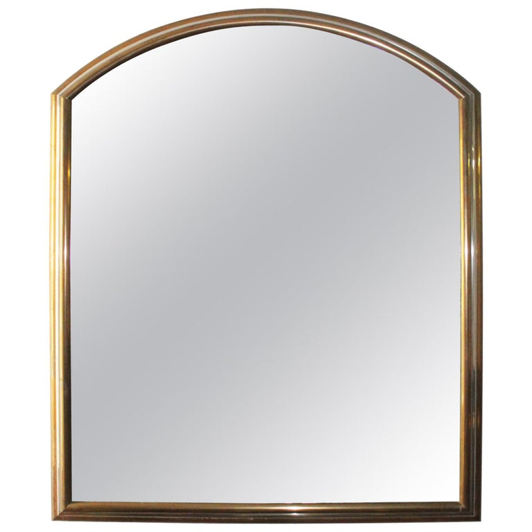 1980s Spanish Metal Mirror with Two-Tone Brass Frame For Sale