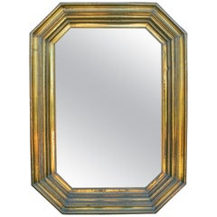 1980s Spanish Metal Plating Mirror with a Wooden Framework