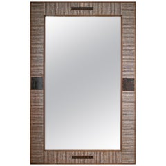 1980s Spanish Mother of Pearl and Coco Fiber Inlaid Mirror