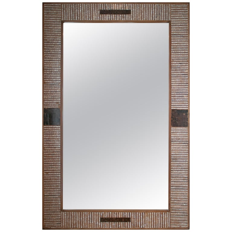 1980s Spanish Mother of Pearl and Coco Fiber Inlaid Mirror For Sale