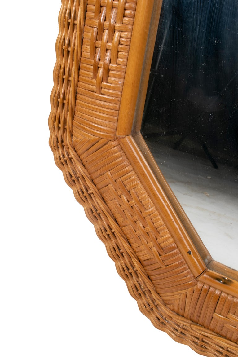 1980s Spanish Octogonal Wicker Frame Mirror For Sale 1