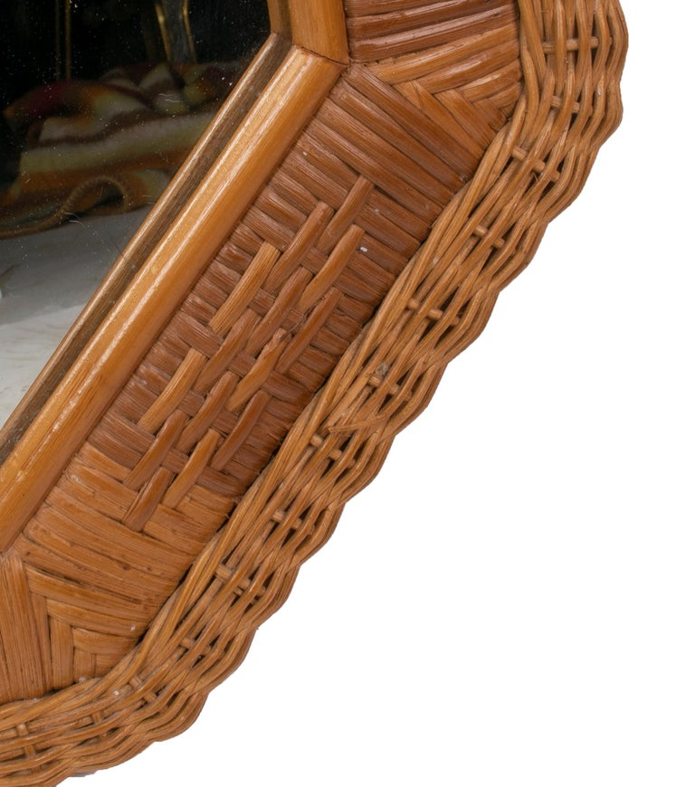 1980s Spanish Octogonal Wicker Frame Mirror For Sale 2