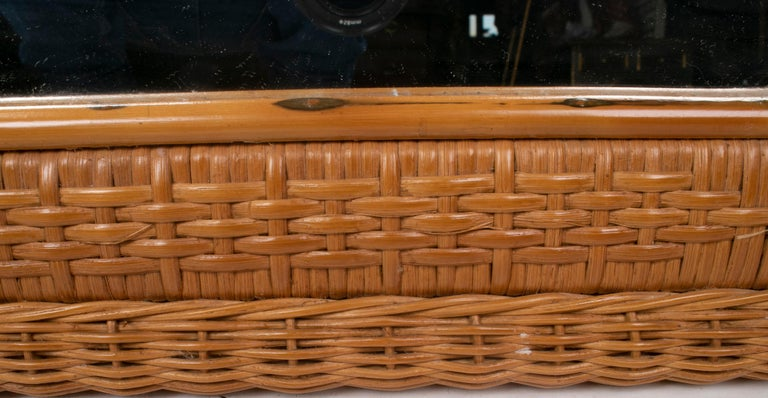 1980s Spanish Octogonal Wicker Frame Mirror For Sale 3