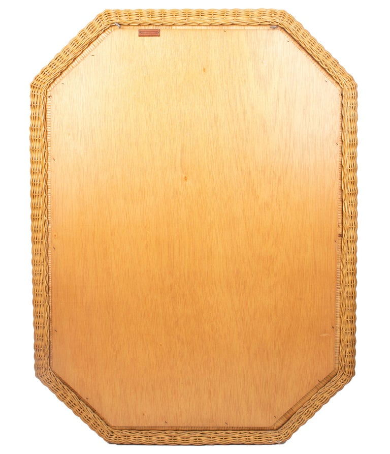 1980s Spanish Octogonal Wicker Frame Mirror For Sale 4