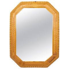 1980s Spanish Octogonal Wicker Frame Mirror