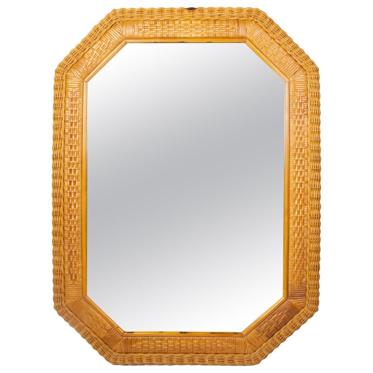 1980s Spanish Octogonal Wicker Frame Mirror For Sale