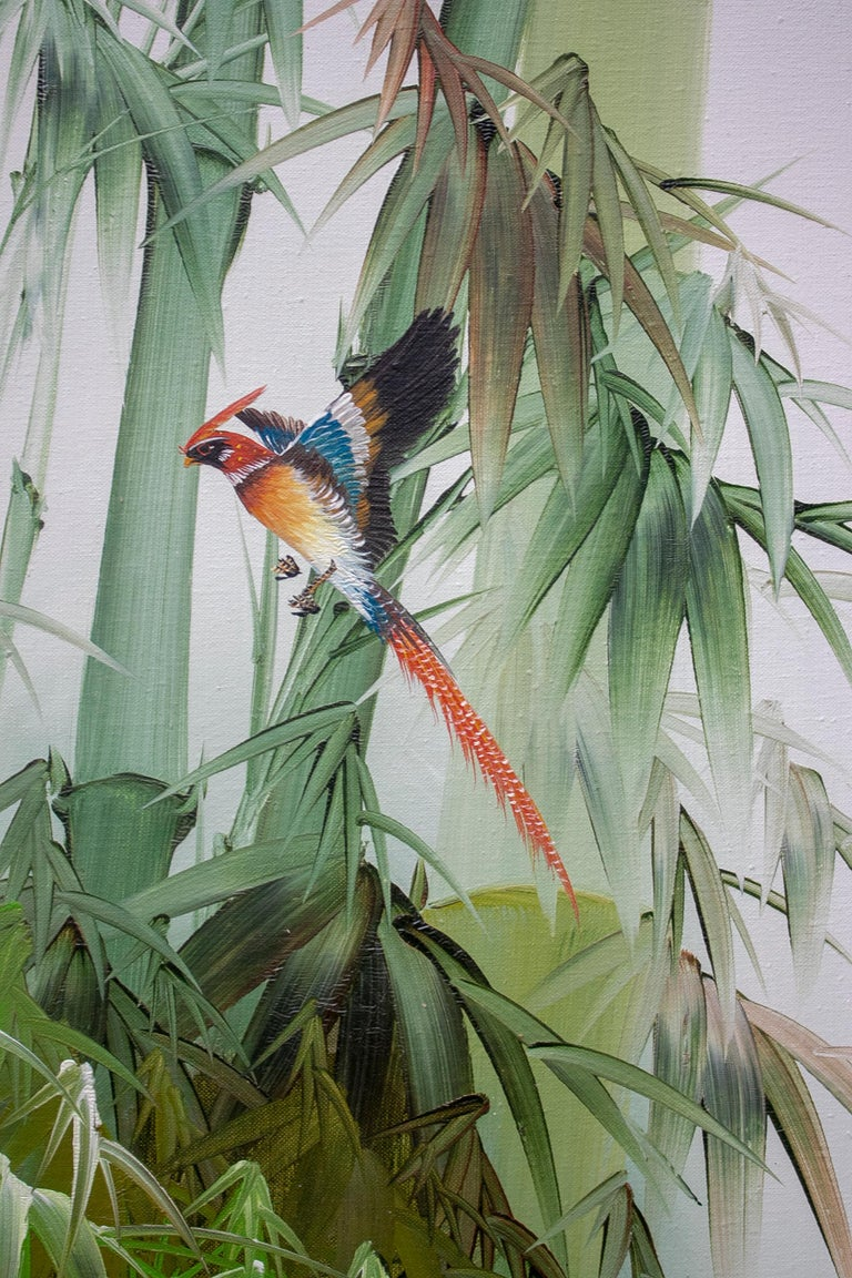 Hand-Painted 1980s Spanish Oil on Canvas Birds Painting with Bamboo Frame For Sale