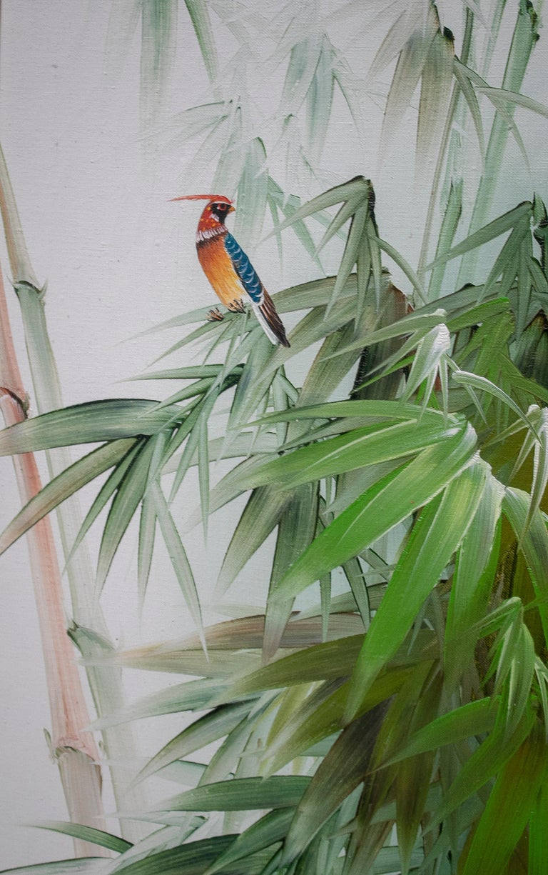 1980s Spanish Oil on Canvas Birds Painting with Bamboo Frame In Good Condition For Sale In Malaga, ES