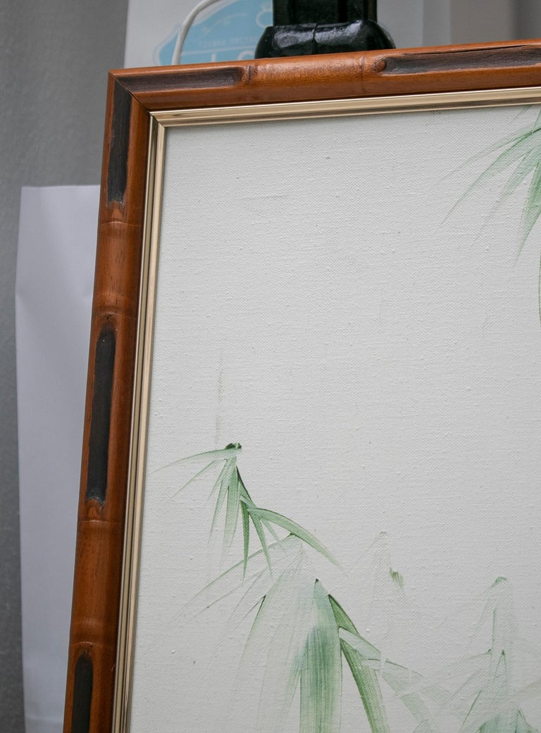 1980s Spanish Oil on Canvas Birds Painting with Bamboo Frame For Sale 3