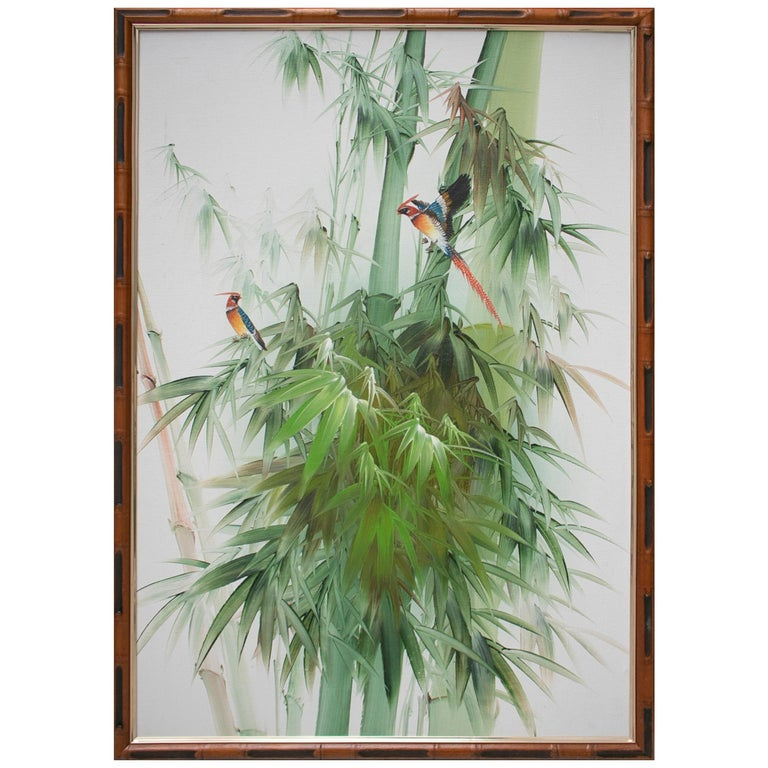1980s Spanish Oil on Canvas Birds Painting with Bamboo Frame For Sale