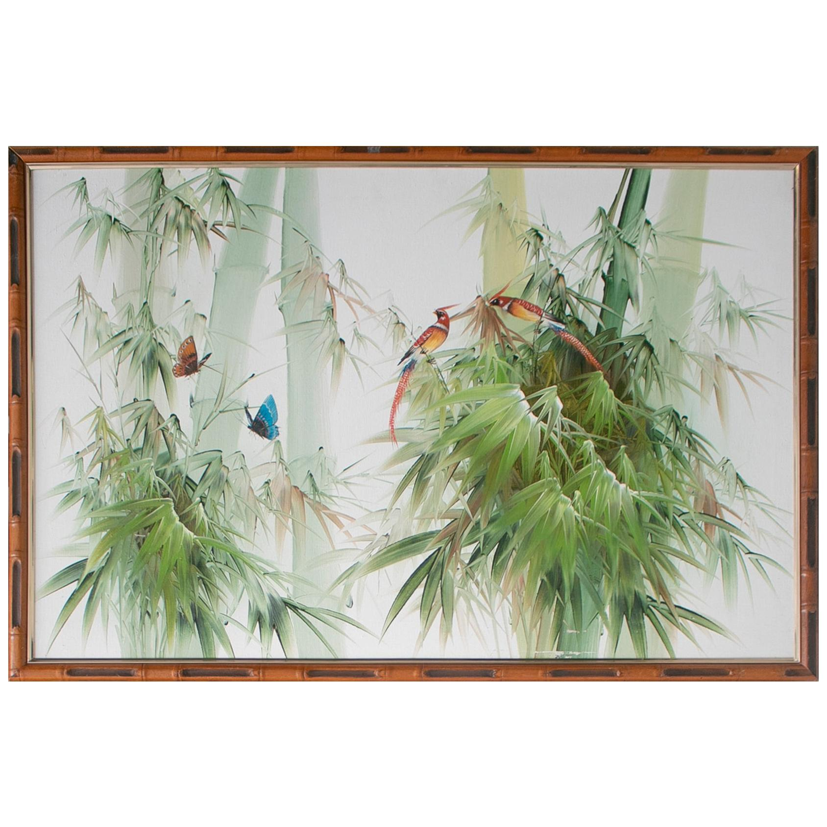 1980s Spanish Oil on Canvas Birds Painting with Bamboo Frame