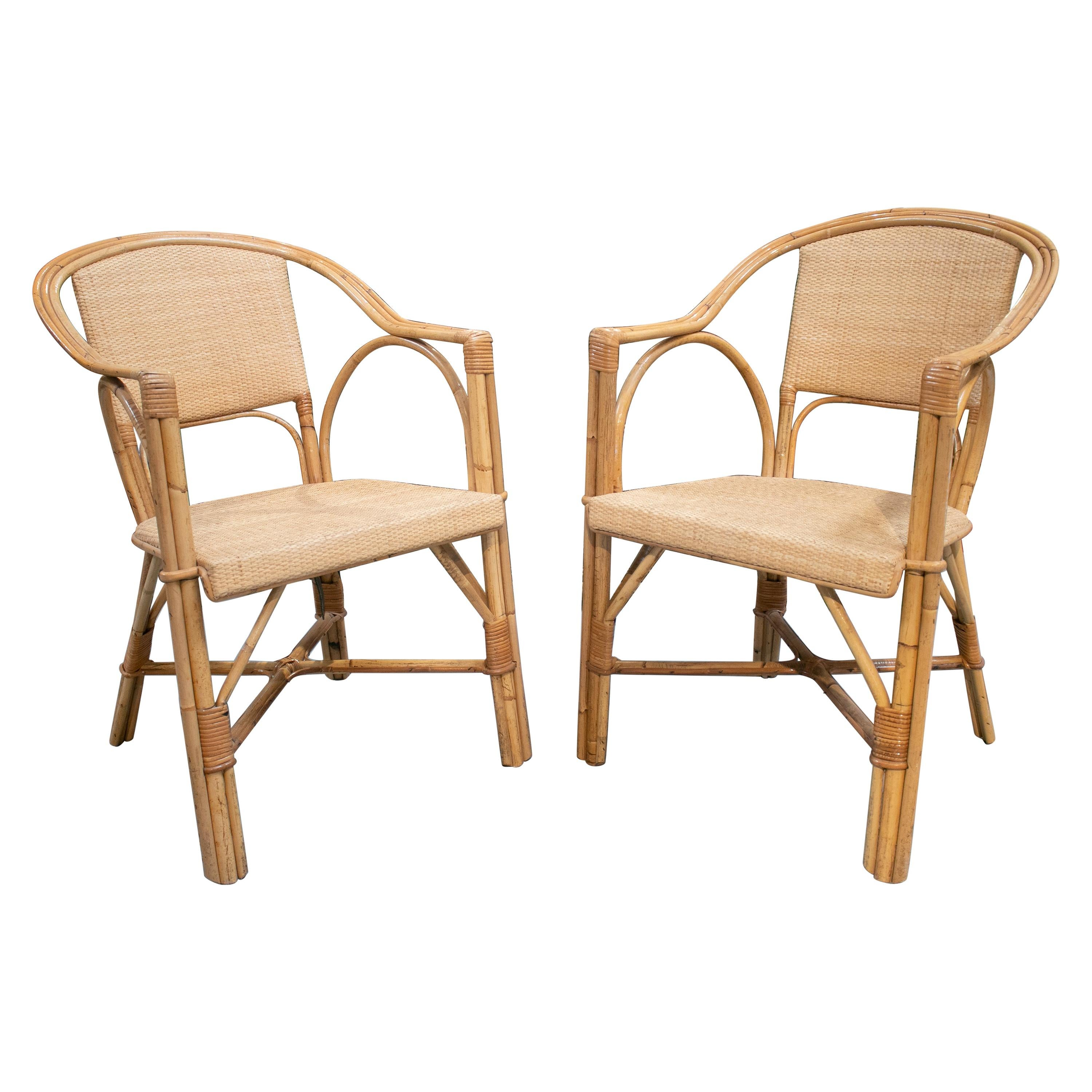 1980s Spanish Pair of Bamboo and Rattan Armchairs