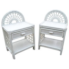 1980s Spanish Pair of Bamboo and Wicker White Bedside Tables