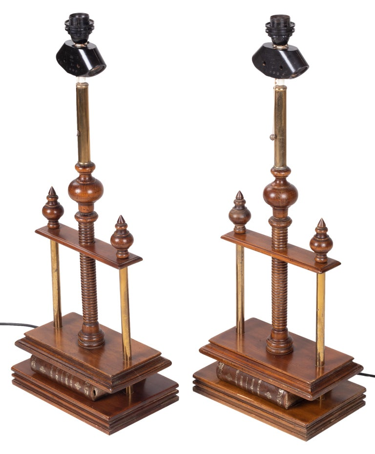 1980s Spanish pair of book press table lamps.