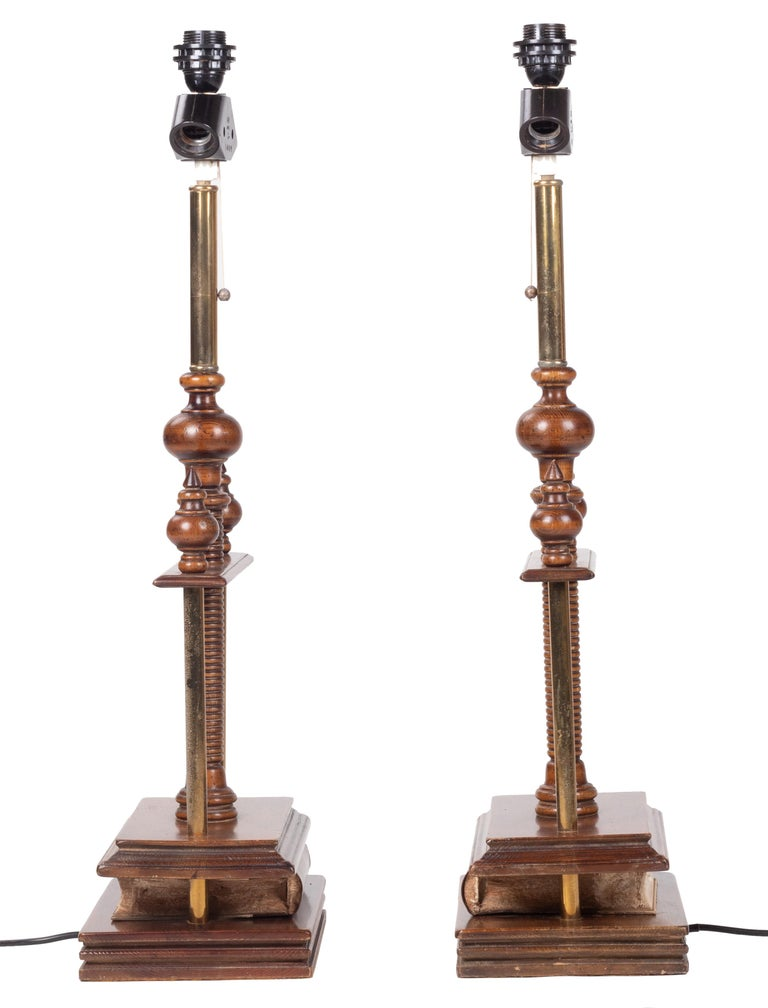 20th Century 1980s Spanish Pair of Book Press Table Lamps For Sale
