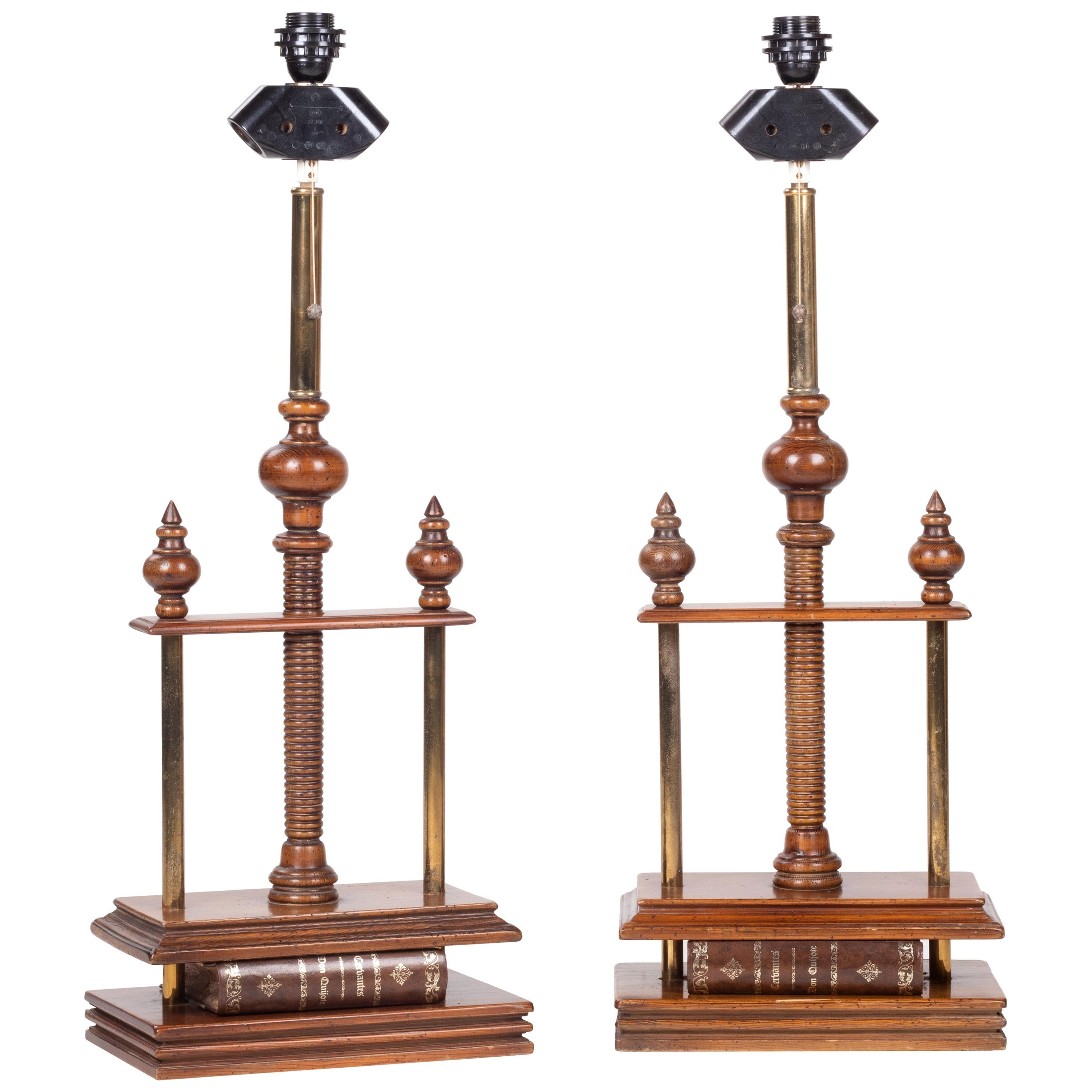1980s Spanish Pair of Book Press Table Lamps